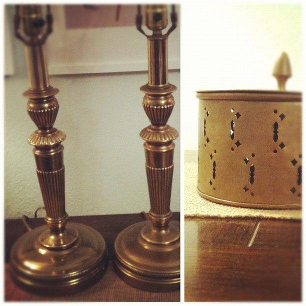 Thrifting, round two: brass lamps & trinket box.