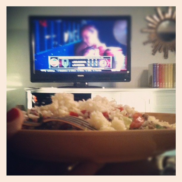 #Paleo taco salad and #bama softball. Date night at home!