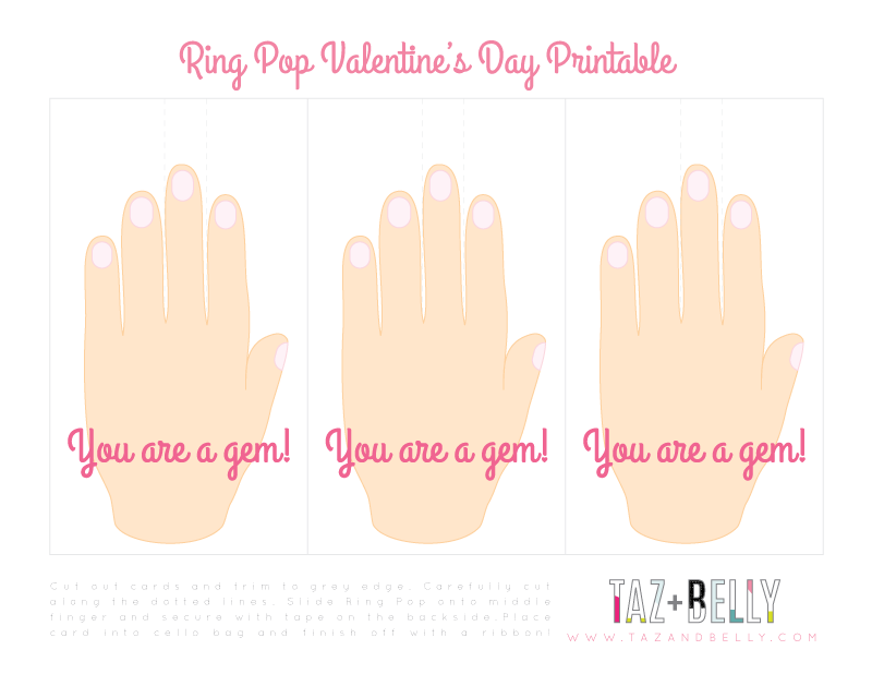 Ring Pop Valentines Printable & Tutorial | tazandbelly.com