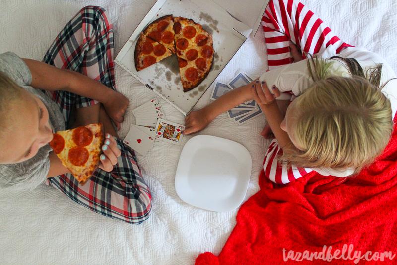 Gluten Free Papa John's Pajama Party | tazandbelly.com