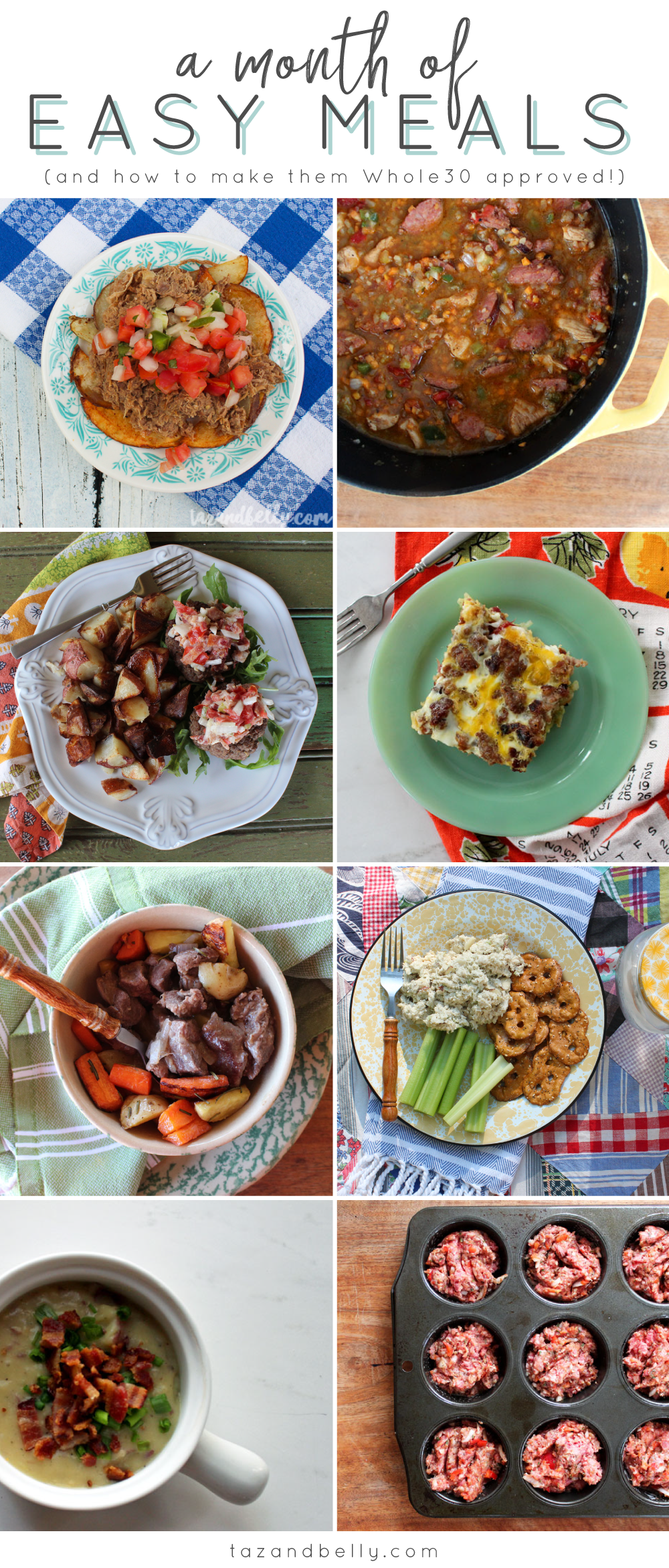A Month of Whole30 Meals: This meal plan includes twenty one recipes, leaving plenty of room for takeout, leftovers, and new favorites. With sixteen recipes that can easily be Whole30 compliant, you'll never have to look for meal ideas again! | tazandbelly.com
