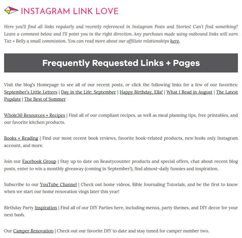 Five on Friday: Instagram Links | tazandbelly.com